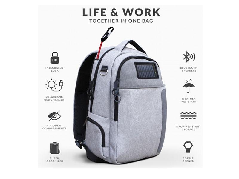 Lifepack یک کوله پشتی دارای دربازکن، پاور بانک و هدست بلوتوث