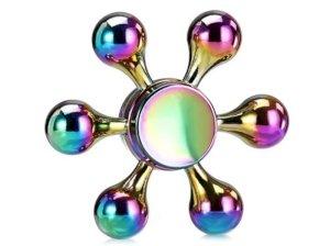 اسپینر فلزی شش پره ای رنگین کمانی Fidget Spinner Metal Rainbow