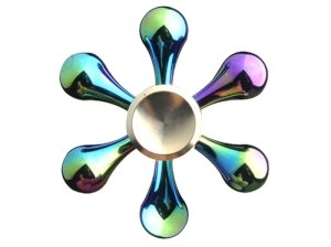 اسپینر فلزی شش پره ای رنگین کمانی و طلایی Fidget Spinner Metal Rainbow & Gold