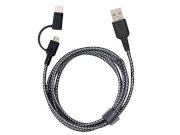 کابل شارژ سریع دو سر میکرو یو اس بی و تایپ سی انرژیا Energea Nylotough Cable 2 In 1 Micro USB And Type-C 1.5M