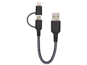 کابل شارژ سریع دو سر میکرو یو اس بی و لایتنینگ انرژیا Energea Nylotough Cable 2 In 1 Micro USB And Lightning 16CM