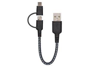 کابل شارژ سریع دو سر میکرو یو اس بی و تایپ سی انرژیا Energea Nylotough Cable 2 In 1 Micro USB And Type-C 18CM