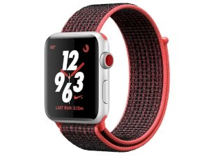 اپل واچ سری 3 مدل Apple Watch 38mm GPS+Cellular Silver Aluminum Case Bright Crimson/Black Nike Sport Loop