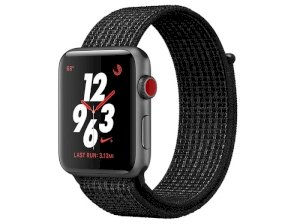 اپل واچ سری 3 مدل Apple Watch 38mm GPS+Cellular Space Gray Aluminum Case Black/Pure Platinum Nike Sport Loop