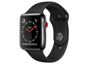 اپل واچ سری 3 مدل Apple Watch 42mm GPS+Cellular Space Black Stainless Steel Case Black Sport Band