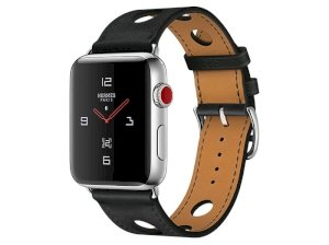 اپل واچ سری 3 مدل Apple Watch 42mm GPS+Cellular Stainless Steel Case Hermes Noir Gala Leather Single Tour Rallye Color Face