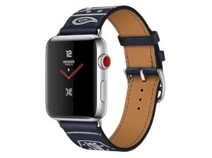 اپل واچ سری 3 مدل Apple Watch 38mm GPS+Cellular Stainless Steel Case Hermes Marine Gala Leather