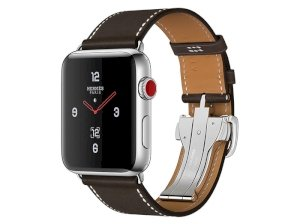 اپل واچ سری 3 مدل Apple Watch 42mm GPS+Cellular Stainless Steel Case Hermes Ebene Barenia Leather Single Tour Deployment Buckle