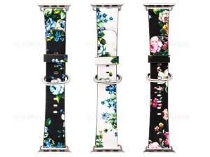 بند چرمی گلدار اپل واچ Apple Watch Flower Printing Leather Band 38mm
