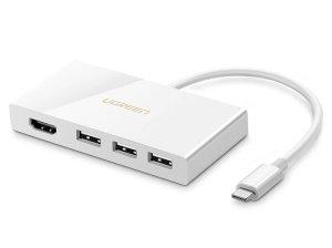مبدل تایپ سی به اچ دی ام آی و یو اس بی یوگرین Ugreen Type C To HDMI +3 Port USB 3.1 Converter