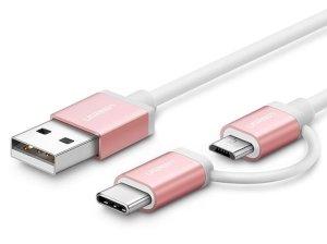 کابل شارژ سریع دو سر میکرو یو اس بی و تایپ سی یوگرین Ugreen US177 30544 Micro USB Cable with USB-C Adapter 1.5m
