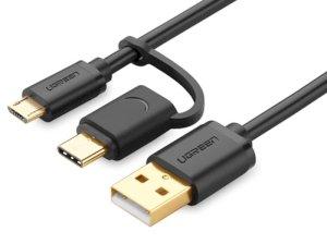 کابل شارژ و انتقال داده دو سر میکرو یو اس بی و تایپ سی یوگرین Ugreen US142 Micro USB To USB Cable with USB-C Adapter 1m