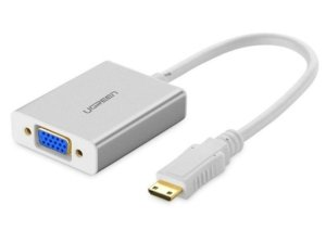 مبدل مینی اچ دی ام آی به وی جی ای و صدا و میکرو یو اس بی یوگرین Ugreen 40217 Mini HDMI to VGA & 3.5MM Audio & Mirco USB Converter