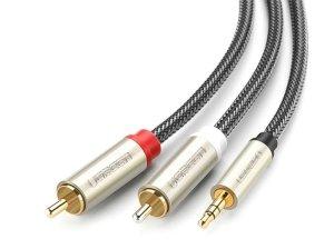 کابل انتقال صدا یوگرین Ugreen AV135 3.5mm to 2RCA Stereo Audio Cable 2M