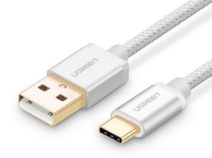 کابل تبدیل یو اس بی به تایپ سی یوگرین Ugreen US174 20814 USB 2.0 To USB-C Nylon Cable 2M