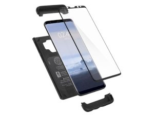 قاب محافظ و محافظ صفحه شیشه ای اسپیگن سامسونگ Spigen Thin Fit 360 Case Samsung Galaxy S9