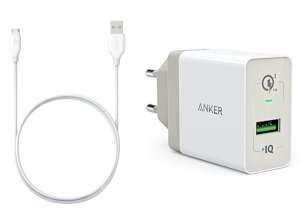 شارژر دیواری سریع انکر با کابل Anker Wall Charger PowerPort+ 1 Quick Charge 3.0 With Micro USB Cable