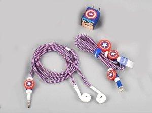 پک محافظ کابل شارژ آیفون کاپیتان آمریکا Charger Protector Pack Captain America