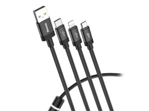 کابل شارژ سه سر بیسوس Baseus Data Faction 3 in 1 Cable