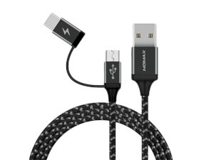 کابل شارژ دو سر مومکس Momax Zero 2 in 1 Type-C /Micro-USB Cable 1m