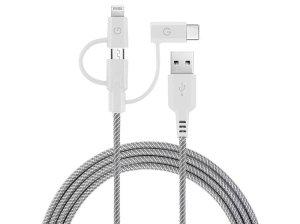 کابل شارژ سریع سه سر میکرو یو اس بی و لایتنینگ و تایپ سی انرژیا Energea Nylotough Cable 3 In 1 Micro USB And Lightning And Type-C 1.5M