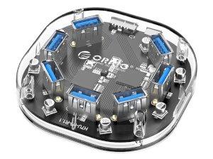 هاب یو اس بی 7 پورت اوریکو Orico 7 Port USB3.0 Transparent HUB H7U-U3