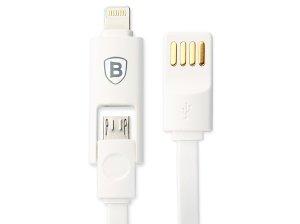 کابل شارژ و انتقال داده دو سر لایتنینگ و میکرو یو اس بی بیسوس Baseus Dual-Port Series Cable 1m