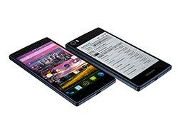 گوشی هوشمندی با دو صفحه نمایش رنگی و سیاه و سفید