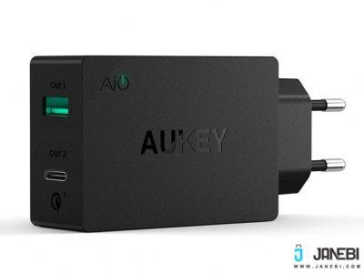 شارژر دیواری 2 پورت با قابلیت شارژ سریع آکی Aukey PA-Y2 Amp Type-C Dual Port Wall Charger