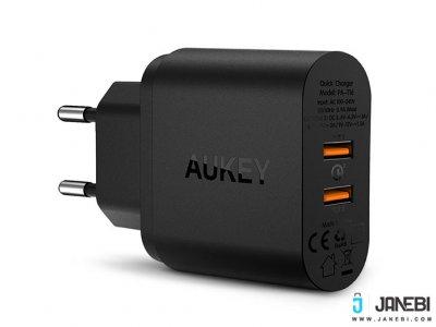 شارژر دیواری 2 پورت با قابلیت شارژ سریع آکی Aukey PA-T16 USB Wall Charger with Dual Quick Charge 3.0