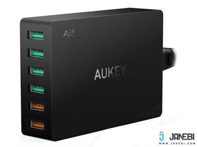 شارژر رومیزی 6 پورت با قابلیت شارژ سریع آکی Aukey PA-T11 6-Port Desktop Charger with Quick Charge 3.0