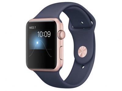 اپل واچ سری 2 مدل Apple Watch 38mm Rose Gold Case With Midnight Blue Sport Band
