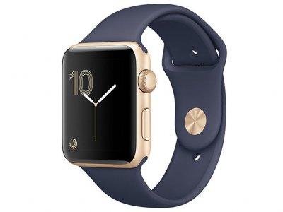 اپل واچ سری 2 مدل Apple Watch 38mm Gold Case With Midnight Blue Sport Band