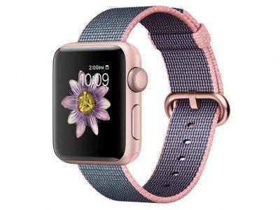 اپل واچ سری 2 مدل Apple Watch 42mm Rose Gold Case With Light Pink Midnight Blue Woven Nylon Band