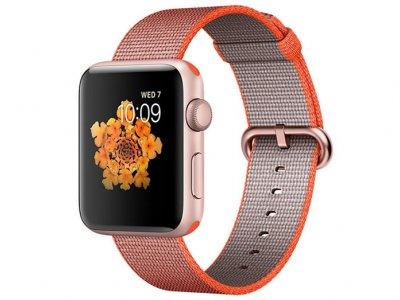 اپل واچ سری 2 مدل Apple Watch 42mm Rose Gold Case With Space Orange Anthracite Woven Nylon Band
