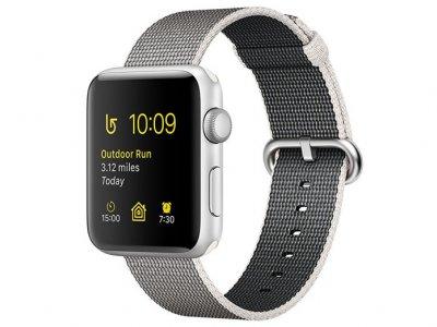 اپل واچ سری 2 مدل Apple Watch 38mm Silver Case With Pearl Woven Nylon Band