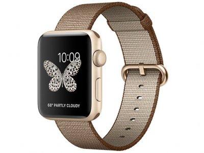 اپل واچ سری 2 مدل Apple Watch 38mm Gold Case With Coffee Caramel Woven Nylon Band