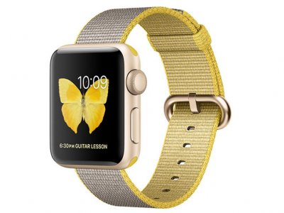 اپل واچ سری 2 مدل Apple Watch 38mm Gold Case With Yellow Light Gray Woven Nylon Band