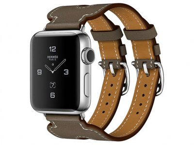 اپل واچ سری 2 مدل Apple Watch 42mm Hermes Etoupe Swift Leather Double Buckle Cuff