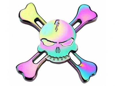 اسپینر فلزی اسکلتی چهار پره ای رنگین کمانی Fidget Spinner Skeletal Rainbow