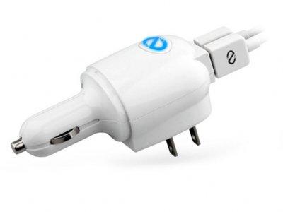 شارژر دیواری و فندکی نزتک Naztech N321 2.4A 3-in-1 Dual USB MFi Lightning Combo Charger