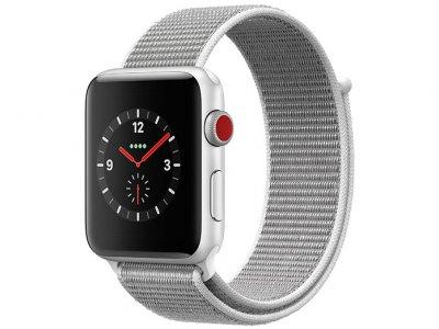 اپل واچ سری 3 مدل Apple Watch 42mm GPS+Cellular Silver Aluminum Case Seashell Sport Loop