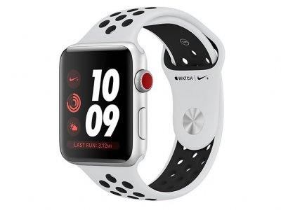 اپل واچ سری 3 مدل Apple Watch 38mm GPS+Cellular Silver Aluminum Case Pure Platinum/Black Nike Sport Band