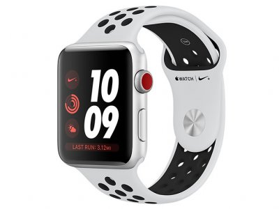 اپل واچ سری 3 مدل Apple Watch 42mm GPS+Cellular Silver Aluminum Case Pure Platinum/Black Nike Sport Band