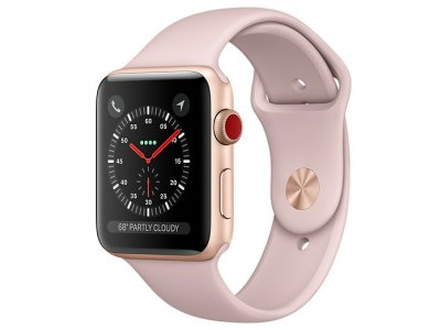 اپل واچ سری 3 مدل Apple Watch 42mm GPS+Cellular Gold Aluminum Case Pink Sand Sport Band