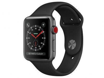 اپل واچ سری 3 مدل Apple Watch 42mm GPS+Cellular Space Gray Aluminum Case Black Sport Band