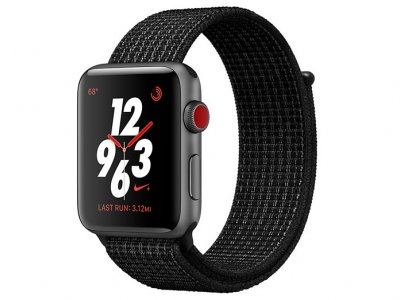 اپل واچ سری 3 مدل Apple Watch 42mm GPS+Cellular Space Gray Aluminum Case Black/Pure Platinum Nike Sport Loop