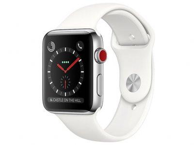 اپل واچ سری 3 مدل Apple Watch 42mm GPS+Cellular Stainless Steel Case Soft White Sport Band