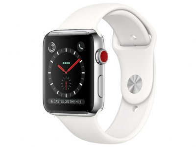 اپل واچ سری 3 مدل Apple Watch 38mm GPS+Cellular Stainless Steel Case Soft White Sport Band