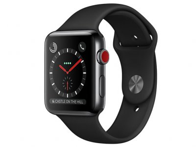 اپل واچ سری 3 مدل Apple Watch 38mm GPS+Cellular Space Black Stainless Steel Case Black Sport Band
